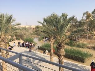 Der Jordan: Die Taufstelle Jesu - Yardenit beim Kibbuz Degania. Direkt an der Grenze zu Jordanien. Der Jordan eine Grenze, die Taufe, eine Grenzerfahrung und Grenzüberschreitung?